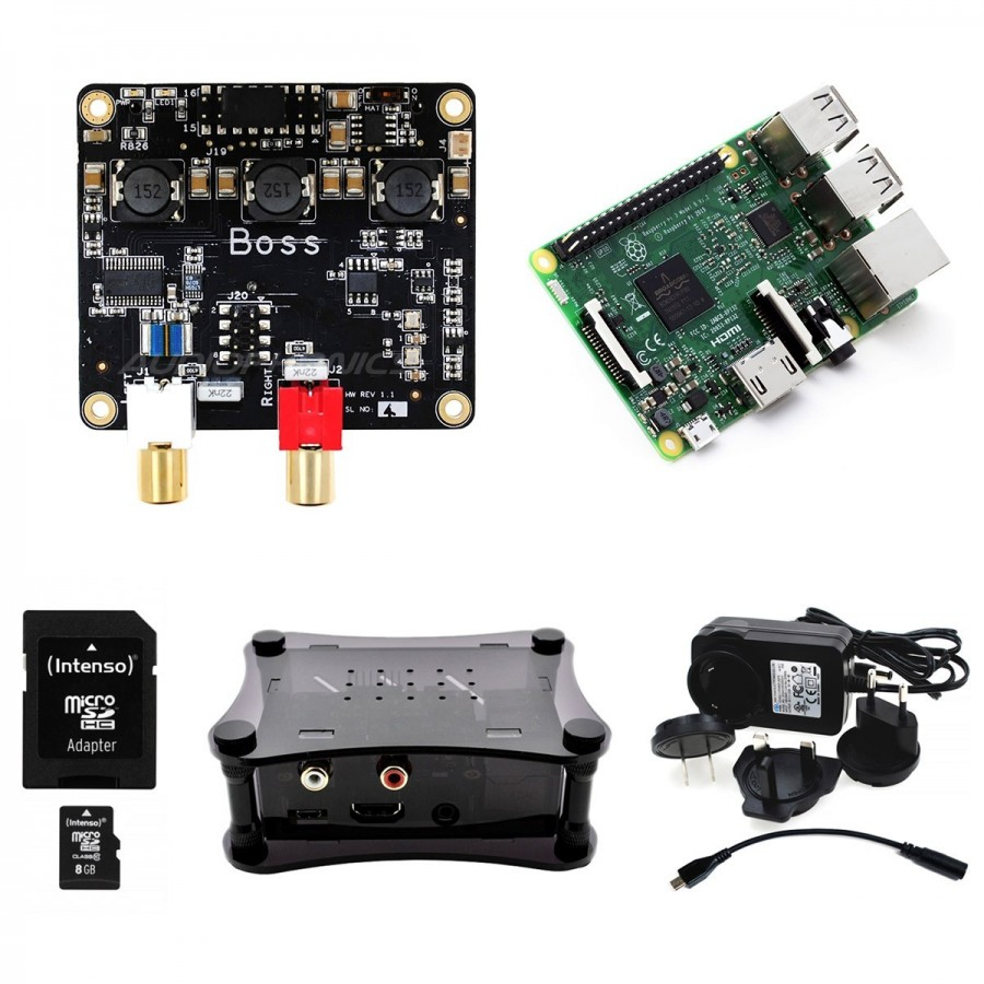 Le package complet RPI3+Dac Allo Boss+Alimentation+carte mémoire